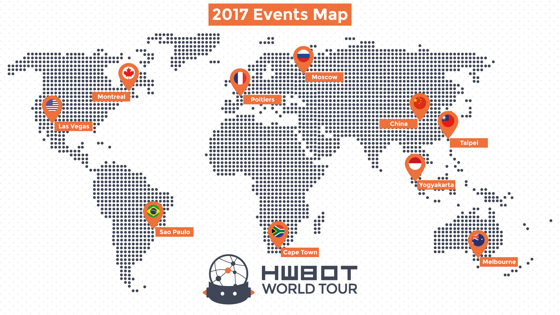 Map of the HWBOT World Tour 2017 events