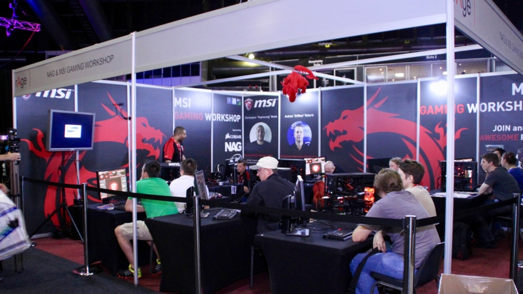 Booth on rAge Expo of the MSI Gaming PC Workshop